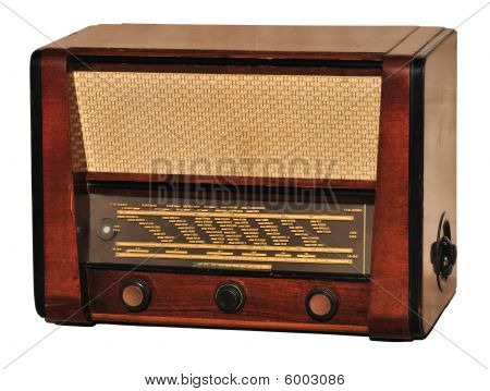 Old retro radio (first appearance in Hungary at 1956) used at home isolated on white. poster
