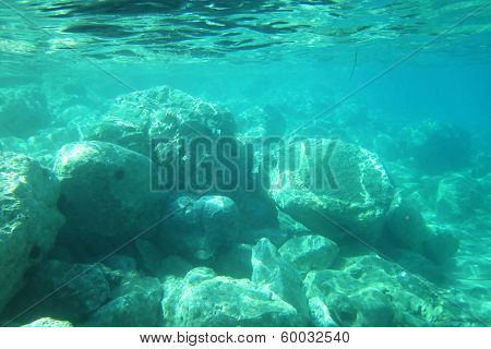 under water scene in the sea from greece poster