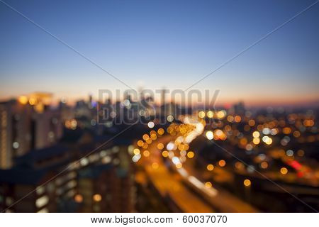 Kuala Lumpur Skyline With Highway Blurred Background
