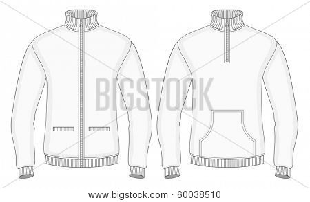 Men's roll-neck sweaters with zip and pockets (front view). Vector illustration. No mesh. Redact color very easy.