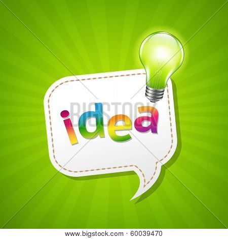 Green Sunburst Poster And Speech Bubble And Lamp, With Gradient Mesh, Vector Illustration