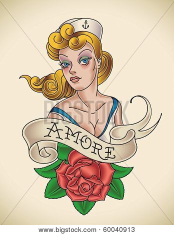 Old-school Navy tattoo of a pinup lady with a red rose. Raster image (check my portfolio for options.)