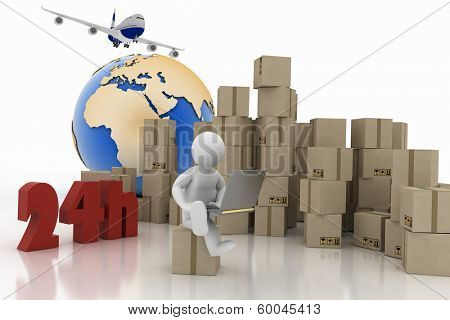 Man with a laptop sitting on the box , executing online delivery of goods in the stream 24 hours. Logistics concept