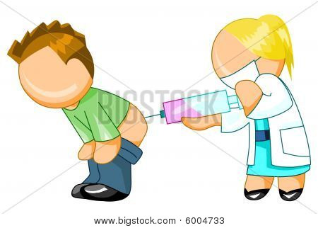 Doctor giving an injection to man
