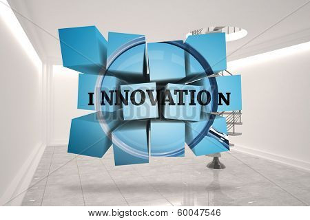 Innovation on abstract screen against digitally generated room with winding staircase poster