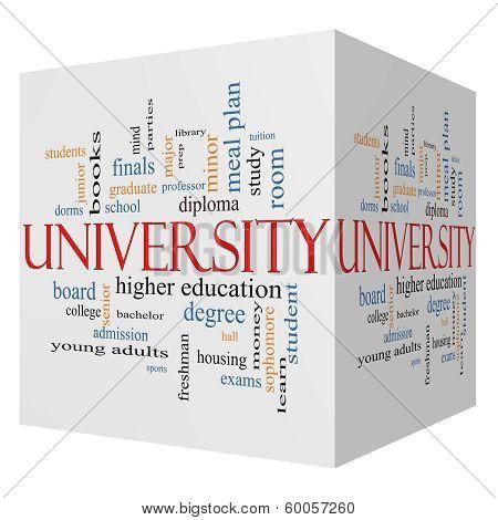 University 3D Cube Word Cloud Concept