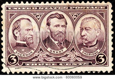 Sherman, Grant And Sheridan Stamp