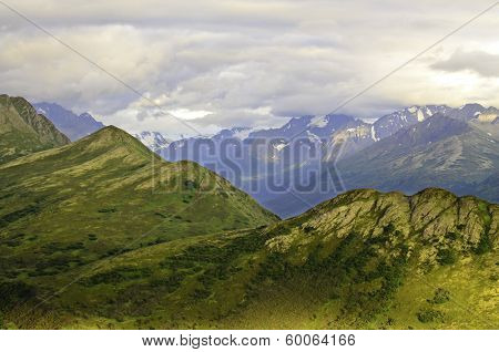 Rugged mountain peaks