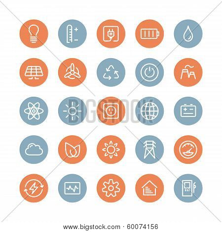 Power And Energy Flat Icons Set