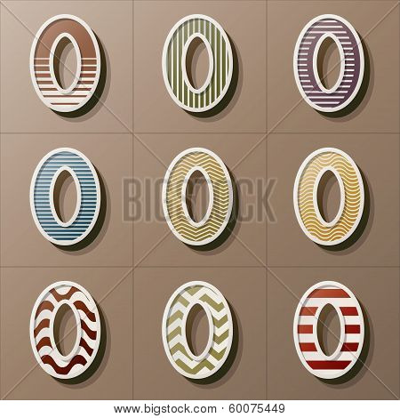 Set Of Retro Style Number 0, Eps 10 Vector, Editable For Any Background, No Clipping Masks