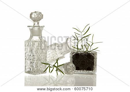 Crystal Glass Bottles And Plant