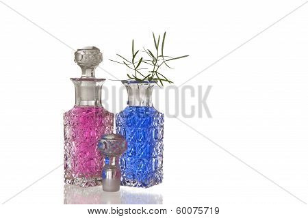 Pink And Blue Glass Flagons