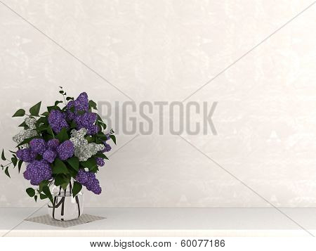 A Vase Of Flowers Against A Beige Wall