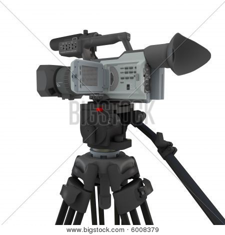 A Video Camera On Tripod