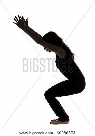 Chair Pose In Yoga, Silhouette