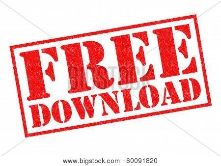FREE DOWNLOAD red Rubber Stamp over a white background. poster