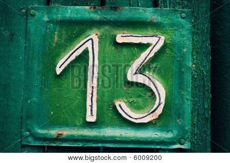 Cyan Grungy Number Thirteen