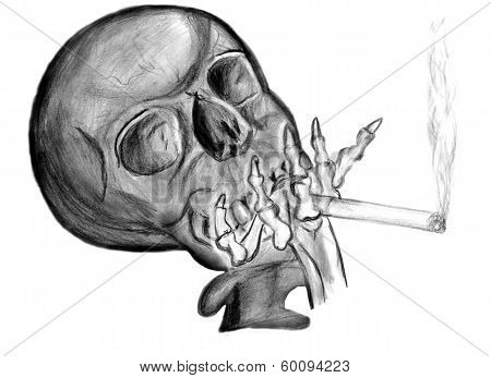 smoking cigarette. skull with a cigarette in his bony hand poster