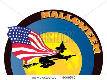halloween witch with USA flag