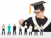 Graduation male student have different  careers to choose over white poster