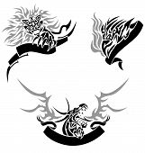Three tattoos (a lion an eagle and a dragon) with templates for text. poster