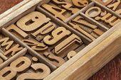 letterpress wood type blocks in a typesetter drawer poster