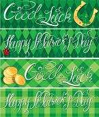 Set of 4 horizontal banners with calligraphic words Happy St. Patrick`s Day and Good Luck. Shamrock horseshoe ladybug and golden coins on green checkered background poster