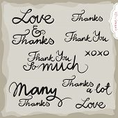 love and thanks hand drawn grateful monochrome inscription set on light background poster