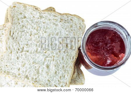 Sliced Bread And Strawberry Jam