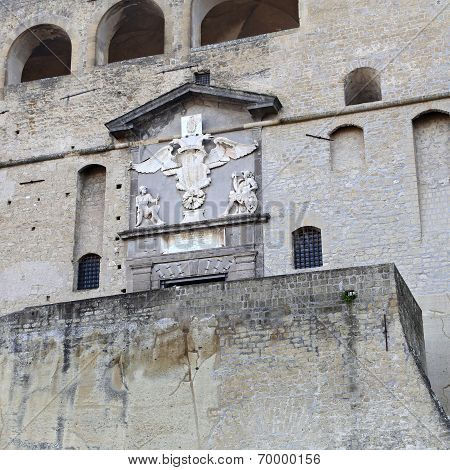 """Wide View Of The Big Wall Of The Castle """"castel Sant Elmo"""" In Naples In Italywide View Of The Big Wa"""