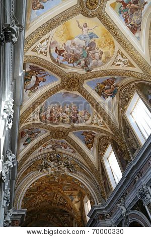 Murals Inside The Church Of Certosa Di San Martino In Naples, Italy.