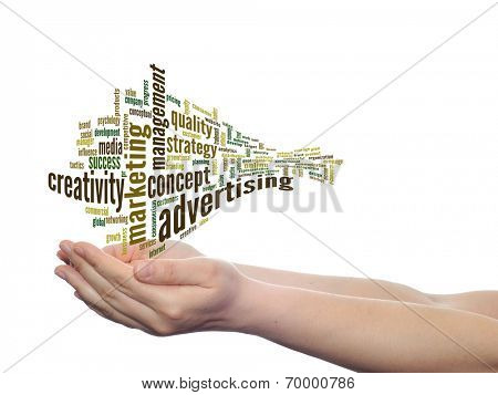 Concept or conceptual abstract business advertising and marketing word cloud or wordcloud in man or woman hand on white background
