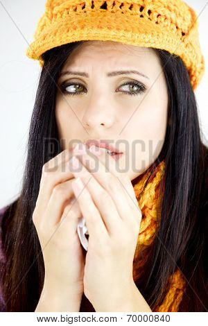 Beautiful Woman With Cold Allergy And Yellow Hat Isolated