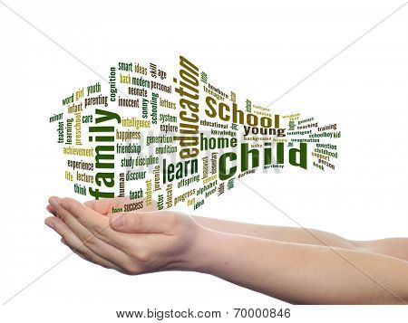 Concept or conceptual child education abstract word cloud, human man hand on white background