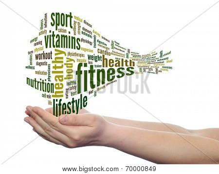 Concept or conceptual abstract fitness and health word cloud with a hand on touch screen on white background