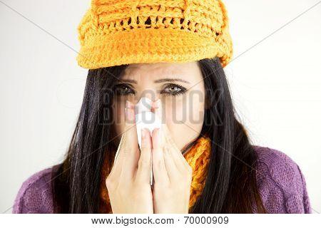 Sick Woman Blowing Handkerchief