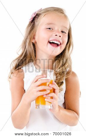 Happy Little Girl With Glass Of Juice Isolated
