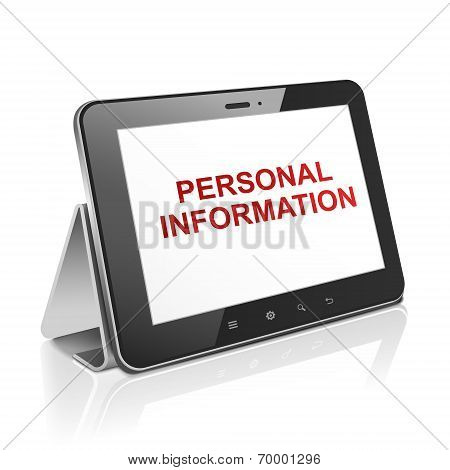 Tablet Computer With Text Personal Information On Display