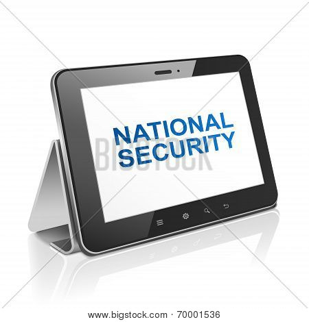 Tablet Computer With Text National Security On Display