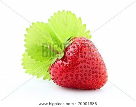 Strawberry With Leaf Closeup.