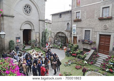 "Viterbo, Italy, May 4, 2014: Exhibition ""san Pellegrino In Fiore In Viterbo."" The Event In San Pelle"