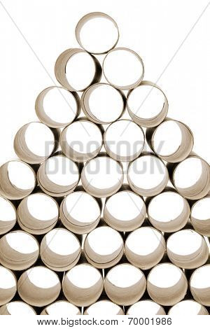 Used empty toilet paper rolls stacked against white background.