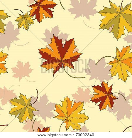 Maple leaf silhouette seamless pattern