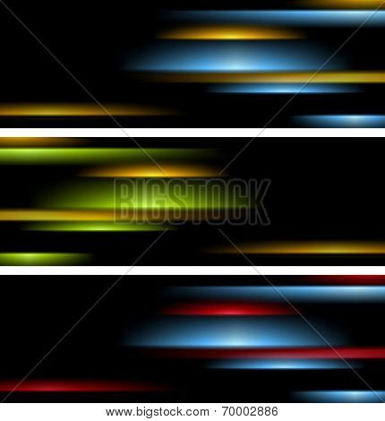 Abstract tech striped banners. Vector design