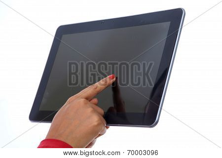 Tablet With Hand Pointing