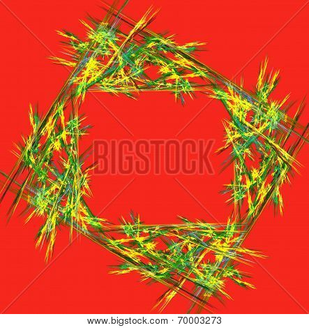 Multicolor Abstract Background In Geometric Style In Red. Computer Generated Graphics.