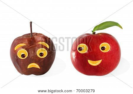Creative Food. Positive And Negative Portraits Made ??from Apples.