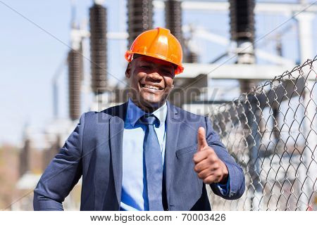 handsome african american electrical manager giving thumb up