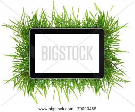 Tablet with blank white screen surrounded by grass isolated