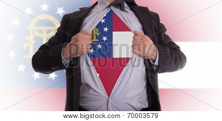 Businessman With Georgia Flag T-shirt
